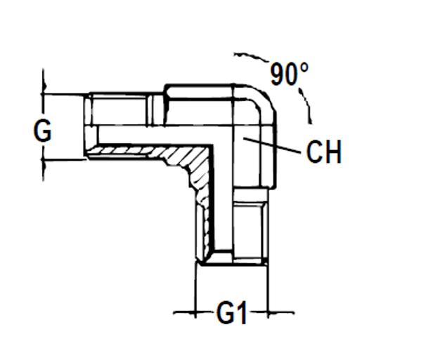 Bild för kategori Vinkeladapter 90° BSP utv