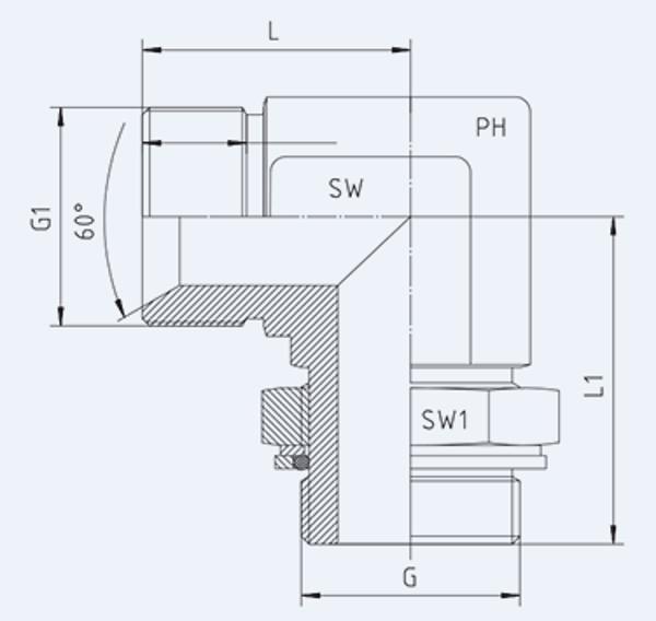 Bild för kategori BSP syrafast 90° utv/utv ställbar