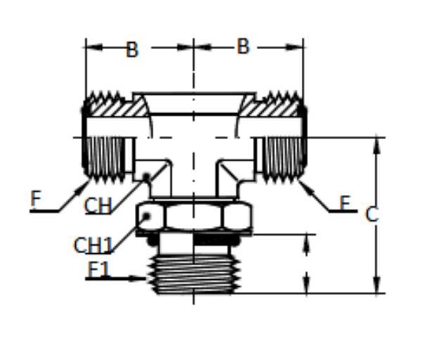 Bild för kategori ORFS T-adapter/ SAE utv ställbar
