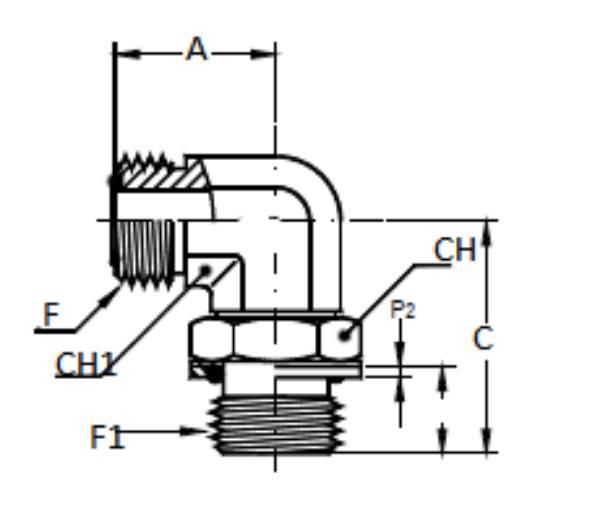 Bild för kategori ORFS 90° utv/ Metrisk utv ställbar