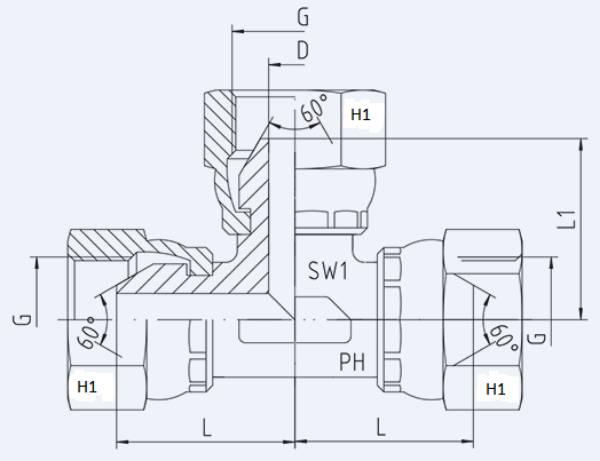 Bild för kategori BSP syrafast T-adapter inv rörlig