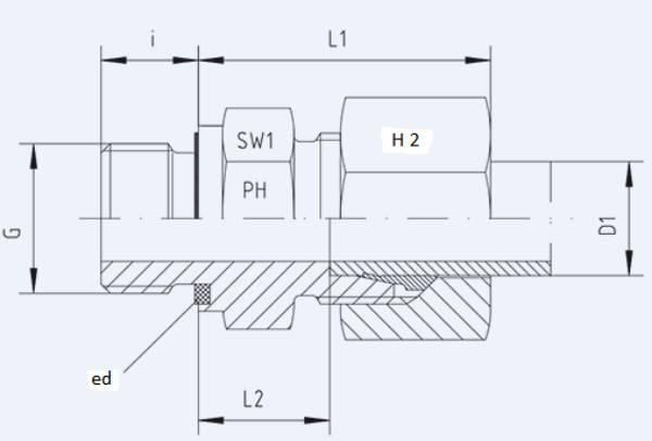 Bild för kategori Rak koppling XGE-ed, GE-ed utv. R-gänga syrafast