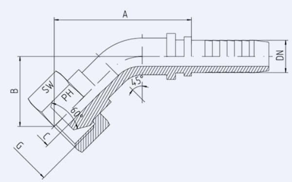 Bild för kategori BSP 45° inv. nippel syrafast