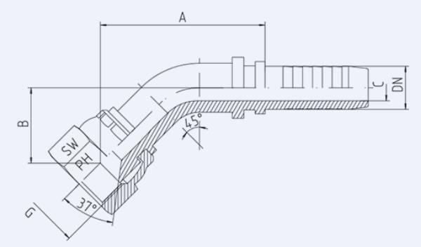 Bild för kategori JIC 45° invändig syrafast