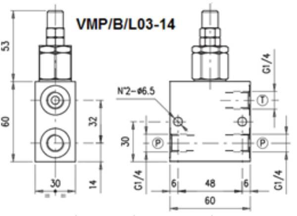 Bild för kategori Walvoil VMP/B/L stål tryckbegränsningsventil