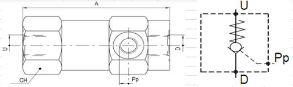 Bild för kategori Walvoil VUPSL pilotstyrd backventil enkel
