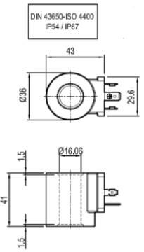Bild på D36 Magnetspole 12VDC 20W Din4